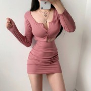 Buttoned Open-Waist Hollow Low-cut Fashionable Thin Long-Sleeve Dress - Dresses - $27.99  ~ £21.27