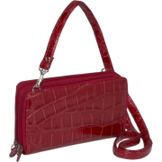 Buxton Shimmer Croc Double Zip Organizer Red - Wallets - $26.67