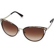 Bvlgari BV6083 203013 Brown/Pale Gold BV6083 Round Sunglasses Lens Category 3 S - Eyewear -