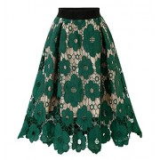 CHARTOU Womans Vintage Floral Lace Elastic Waist Scalloped A-Line Swing Midi Skirts - Skirts - $19.99