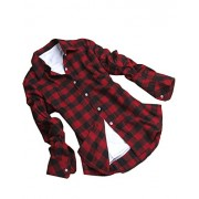 CHIGANT Womens Flannel Plaid Boyfriend Shirt,Long Sleeve Ladies Casual Button Down Blouse Top - Shirts - $18.99