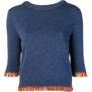 CHLOÉ cropped fringe sweater - 长袖T恤 -