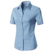 CLOVERY Women's Basic Simple Short Sleeve Trendy Slim Fit Button Down Shirt - Shirts - $16.99