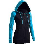 CLOVERY Women's Casual Hoodie Raglan 2-Tone Zip-up Hoodie - Long sleeves t-shirts - $20.99