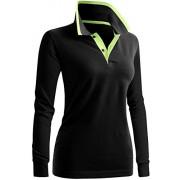 CLOVERY Women's Casual Polo 2-Button Long Sleeve Shirt - Long sleeves t-shirts - $9.99