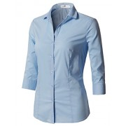 CLOVERY Women's Formal Wear 3/4 Sleeve Simple Slim Fit Button Down Shirt - Shirts - $16.99