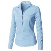 CLOVERY Women's Long Sleeve Slim Fit Button Down Shirt - Long sleeves shirts - $16.99