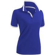 CLOVERY Women's Polo Shirt Casual 2-Button Short Sleeve Point Collar - T-shirts - $17.99