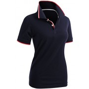 CLOVERY Women's Polo Shirts Short Sleeve Point Design Shirt - T-shirts - $15.99