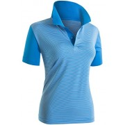 CLOVERY Women's Polo Shirts Stripe Pattorn Short Sleeve Shirt - T-shirts - $21.99