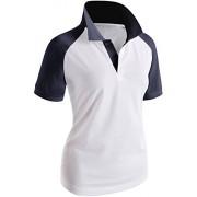 CLOVERY Women's Raglan Polo Shirt Short Sleeve 2-Button Top - T-shirts - $9.99