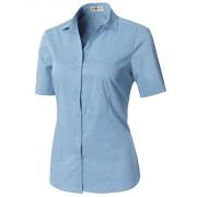 CLOVERY Women's Short Sleeve Basic Button Down Slim Fit Fomal Shirt - Shirts - $19.99