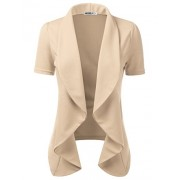 CLOVERY Women's Short Sleeve Casual Open Front Work Office Jacket Ruffles Blazer Stone 2XL Plus Size - T-shirts - $23.99