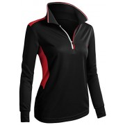 CLOVERY Women's Sport Wear Long Sleeve 2-Tone Zip-up POLO Shirt - Long sleeves t-shirts - $9.99