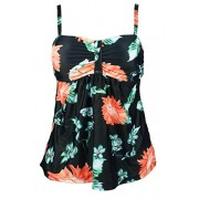 COCOSHIP Vintage Carnival Floral Swim Top Retro Ruched Modest Tankinis(FBA) - Swimsuit - $19.99