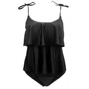 COCOSHIP Women's Ruffled Cute Bikini Set Shoulder Straps Tiered Top Falbala Bathing Swimsuit(FBA) - Swimsuit - $22.99