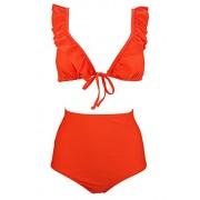 COCOSHIP Women's Smoothing High Waist Bikini Set Ruffle-Trimmed Triangle Top Stylish Swimsuit(FBA) - Swimsuit - $22.99