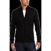 Calvin Klein Sportswear Men's Long Sleeve Full Zip Mock Merino Sweater Black - Cardigan - $55.99
