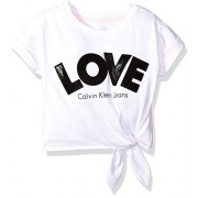 Calvin Klein Little Girls' Calvin Graphic Tee, Love White, 6 - Shirts - $22.00