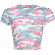 Camouflage T-shirt umbilical sexy top - Shirts - $17.99