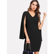 Cape Sleeve Tailored Dress - Dresses - $15.00