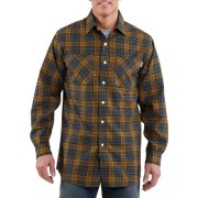 Carhartt Men's Long-Sleeve Light Weight Plaid Shirt Dark Cobalt Blue - Long sleeves shirts - $16.22