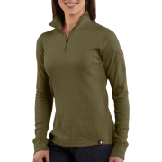 Carhartt WK121 Women's Quarter-Zip Thermal Knit Basil - Long sleeves t-shirts - $34.99