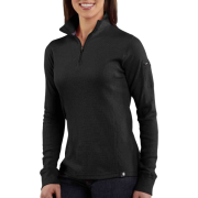 Carhartt WK121 Women's Quarter-Zip Thermal Knit Black - Long sleeves t-shirts - $34.99