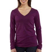 Carhartt Women's Lightweight Long Sleeve V-Neck Tshirt, Heather Gray, X-Large Bright Purple Heather - Long sleeves t-shirts - $17.00