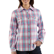 Carhartt Women's Midweight Flannel Button Front Shirt Blue Frost - Long sleeves shirts - $36.99