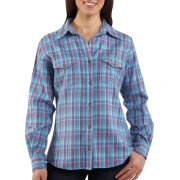 Carhartt Women's Midweight Flannel Button Front Shirt French Blue - Long sleeves shirts - $36.99