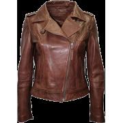 Casual Lambskin Women's Brown Leather Motorcycle Jacket - Jacket - coats - 203.00€  ~ $236.35