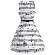 CharMma Women's Vintage 1950 Audrey Hepburn Music Note Print Swing Party Dress - Dresses - $21.99