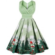 CharMma Women's Vintage 1950s Rockabilly Swing High Waist Floral Print Tea Dress - Dresses - $59.98