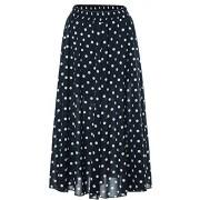 Chartou Women's Casual Contrast Polka Dot Chiffon Bohemia Swing Beach Midi A-Line Skirts - Skirts - $23.56