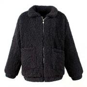 Chartou Women's Casual Warm Winter Oversized Full-Zip Fleece Fuzzy Faux Shearling Coat Outwear Jackets - Outerwear - $28.88