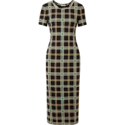 Checked mesh midi dress - sukienki -