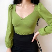 Chest cut v-neck slim avocado green puff - Jakne i kaputi - $27.99  ~ 177,81kn