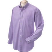 Chestnut Hill Men's Long Sleeve Glen Plaid Button Down Dress Shirt CH510 Grape - Long sleeves shirts - $14.47