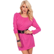 Chic Relaxed Fit Long-Sleeves Round Neckline Empire Waistline Mini Skirt Seamless Slip-On Cocktail Dress - sukienki - $18.99  ~ 16.31€
