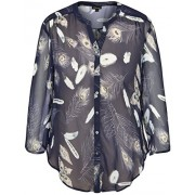 Chicwe Women's Plus Size Feather Printed Rolled Sleeves Button Down Blouse Shirt Top - Shirts - $44.00