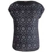 Chicwe Women's Plus Size Floral Laser Cut Woven Top - Casual and Work Blouse - Shirts - $39.00