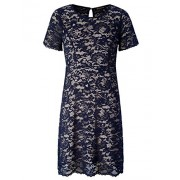 Chicwe Women's Plus Size Scalloped Lace Flared Dress - Casual Dress with Keyhole - Dresses - $66.00