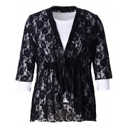 Chicwe Women's Plus Size Stretch Floral Lace Bohemian Cover up - Outerwear - $38.00