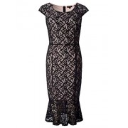 Chicwe Women's Plus Size Stretch Lace Dress - Casual Dress with Ruffle Hem - Dresses - $64.00