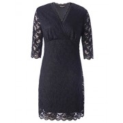 Chicwe Women's Plus Size Stretch Scalloped Solid Lace Dress - Knee Length Casual Party Cocktail Dress - Dresses - $68.00