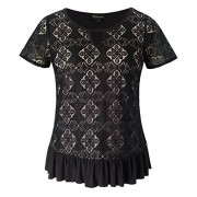 Chicwe Women's Plus Size Stretch Trendy Lace Top with Neck Keyhole Ruffle Hem - Shirts - $44.00