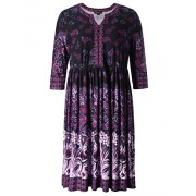 Chicwe Women's Plus Size V Neck Floral Printed Dress - Knee Length Casual and Work Dress - Dresses - $68.00