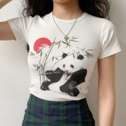 Chinese painting style panda bamboo sunset print round neck simple short sleeve - Koszule - krótkie - $27.99  ~ 24.04€