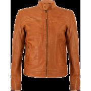 Classic Slimfit Tan Sheepskin Mens Leather Jacket - Jacket - coats - 200.00€  ~ $232.86